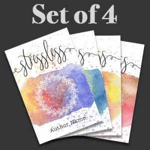 Watercolor calligraphy premade book cover set multicolored flower wreath
