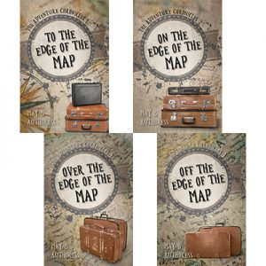 Suitcase, map, globe, adventure premade book covers