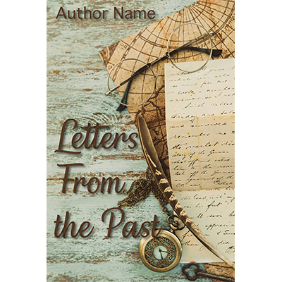 Mystery, romance, adventure, distressed, episodic, feather, map, glasses, premade book cover