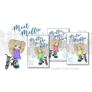 girl bicycle town city metro middle grade children's fiction premade book cover set